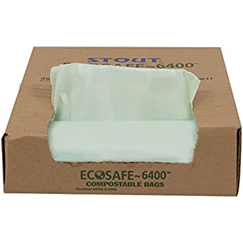 """Stout E3039E11 30 Gallon 30"""" x 39"""" Heavy Duty Compostable Trash Bags, 48 Bags Per Case, ASTM6400, Green, Made in America by People Who Are Blind or Visually Impaired"""