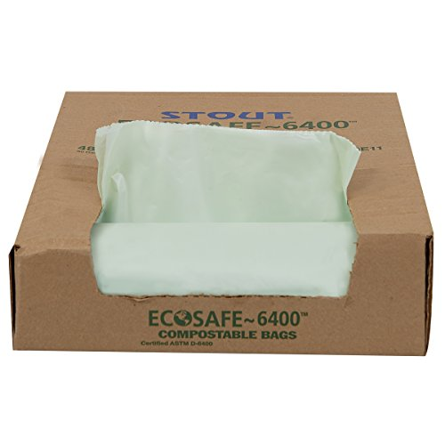 STOUT by Envision E3039E11 EcoSafe-6400 Compostable Bags, 30' x 39', 30 gal Capacity, 1.10 mil Thickness, Green (Pack of 48)