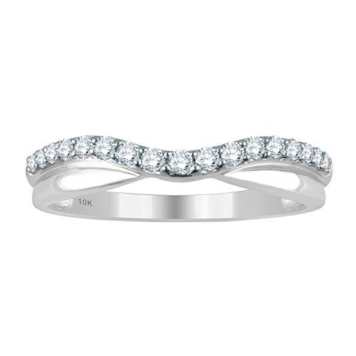 10K White Gold 1/10ct tw Diamond Contour Ring by Diamond (White Gold Contour Engagement Ring)