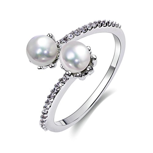 Adisaer Silver Plated Base Wedding Rings Bands for Women Double Pearl The tears of the Goldfish Silver Size 10