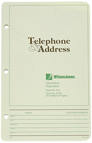 Wilson Jones Looseleaf Phone/Address Book Refill, 5-1/2 x 8-1/2, 80 Sheets