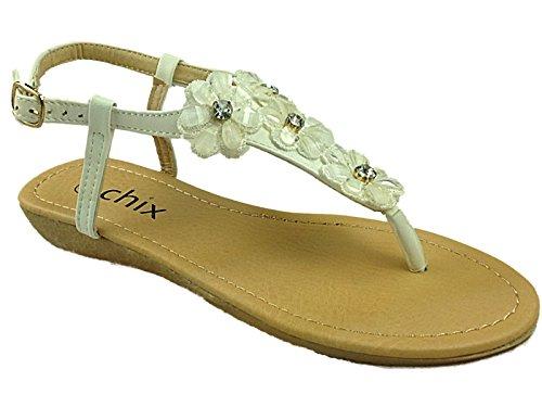 Gem 287395 Post Shoes Toe Chix 8 Fashion White Sandals Ladies Size 3 Summer Slingback Flower Stones Cqp4wxSt