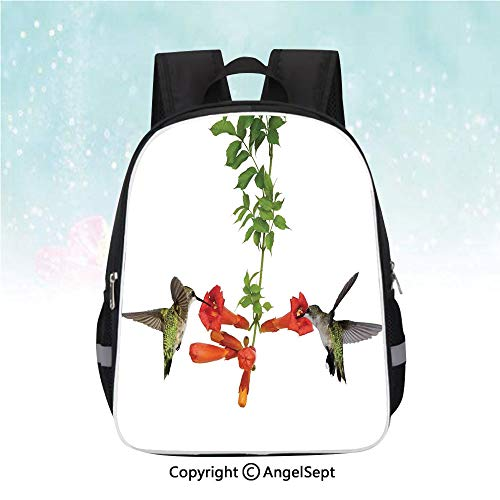 - Travel Backpack,Two Hummingbirds Sip Nectar from a Trumpet Vine Blossoms Summertime,13