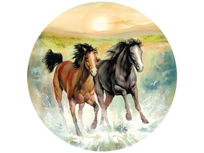 Horsing Around Round Jigsaw Puzzle 500pc