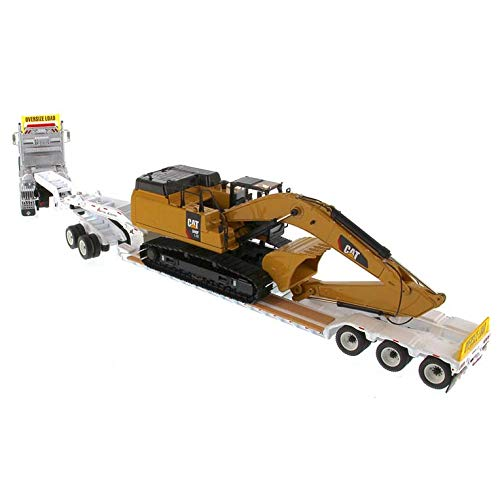 International HX520 Tandem Tractor White with XL 120 Lowboy Trailer and CAT Caterpillar 349F L XE Hydraulic Excavator Set of 2 Pieces 1/50 Diecast Models by Diecast Masters 85600 by Diecast Masters (Image #3)