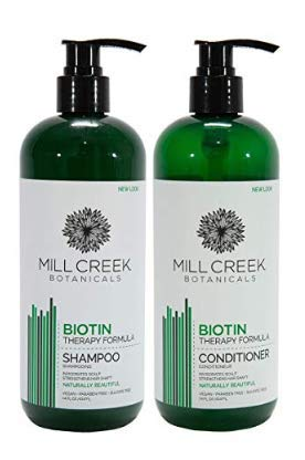 Mill Creek Biotin Shampoo With Keratin, Peppermint Oil, Aloe Vera, Jojoba and Panthenol, All Natural and Organic Formula, 14 fl. oz. (Pack of 2)