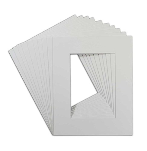 Golden State Art, Pack of 10, High Quality Acid-Free White Pre-Cut 8x10 Picture Mat for 5x7 Photo with White Core Bevel Cut Frame Mattes