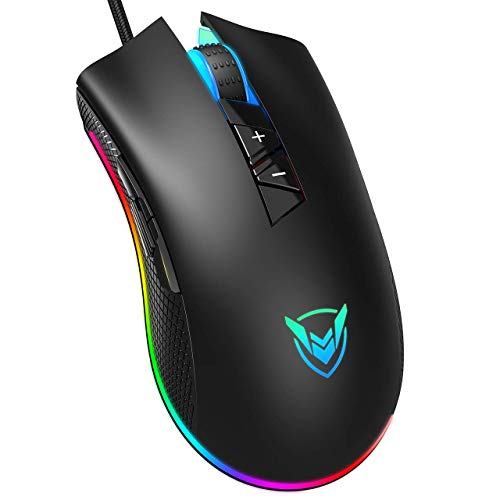 PICTEK Gaming Mouse Wired-Chroma RGB Lighting- High Precision 10,000 DPI Optical Sensor-Programmable Computer Mouse Design for Average Size Hand, PC Wired Mouse with Long Braided Cord, Ideal for Gamer