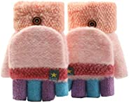 Unisex Kids Fingerless Flap Cover Gloves - Convertible Flip Top Warm Mittens for 5-12 Ages Boys and Girls