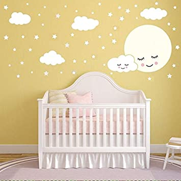 Luna llena con nubes estrellas tatuajes de pared para niños ...