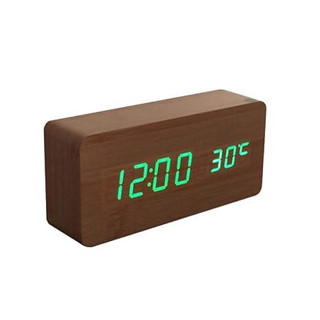 SELUXU Despertador Digital de Madera Activado por un Reloj Despertador multifunción de Temperatura táctil o de