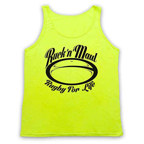 Ruck And Maul Rugby For Life Tank-Top Weste, Neon Gelb, Large
