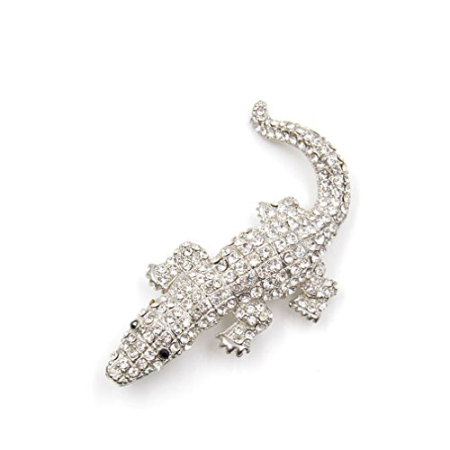 EERLLZ Animal Gecko Brooches Crocodile Lizard Rhinestone Brooch Pin For Women Winter Coat Accessories 2 Colors Pick gold