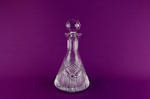 Heavy Cut Crystal Glass Tyrone Irish Ship Decanter Pyramid Yacht Port Sherry Whisky Vintage Late 20th - Tyrone Glass
