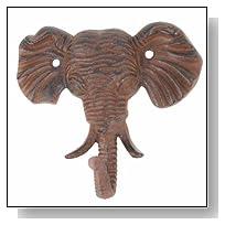 1 X Antiqued Reproduction Cast Iron Elephant Head Single Hook Wall Decor