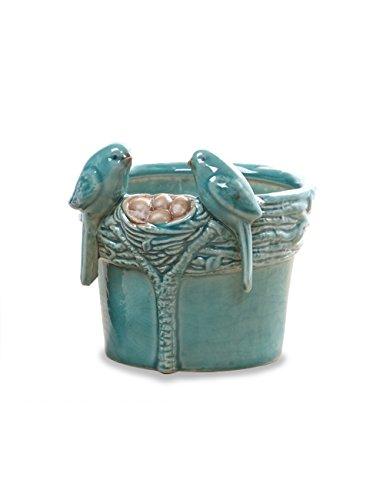 Dahlia Spring Nesting Birds Handmade Ceramic Succulent Planter/ Plant Pot/ Flower Pot/ Bonsai Pot