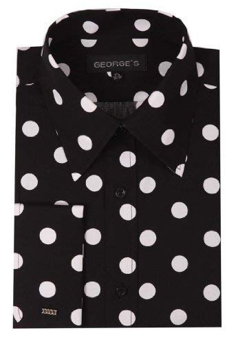 George's Men's 100% Cotton Big Polka Dot Pattern Shirt with French Cuff 15-15 1/2 34-35 Black-White Dot ()