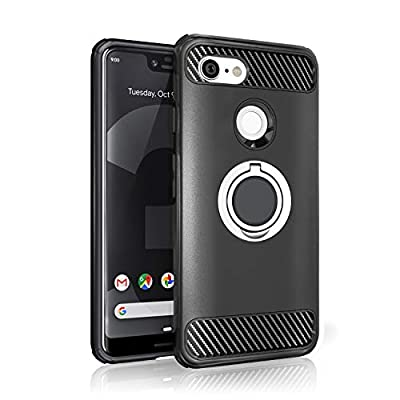 Google Pixel 3 XL Case - 2018 Upgraded Version with Metal Stand Ring - Pixel 3 XL Heavy Duty Protective Phone Case - Google Pixel 3 XL Rugged TPU Cover - Google Pixel 3 XL Shockproof Defender Case