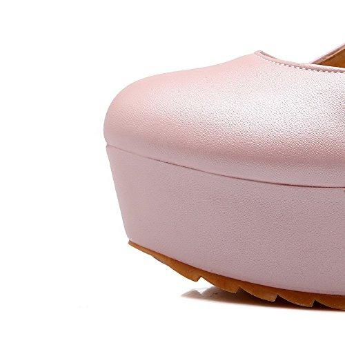 Toe Ympäri Solid Pinkki Korkokengät Suljetun Naisten kengät Solki Amoonyfashion Pumput WUgOnaa
