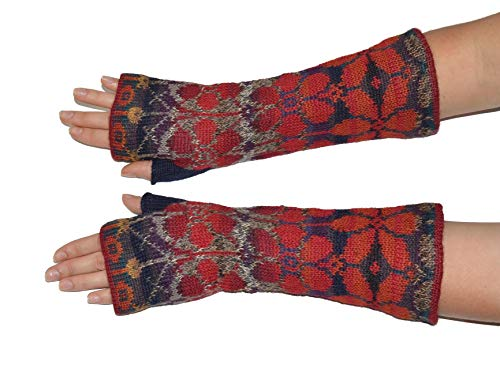 (Invisible World Women's Alpaca Wool Fingerless Gloves Texting Typing Summer Red)