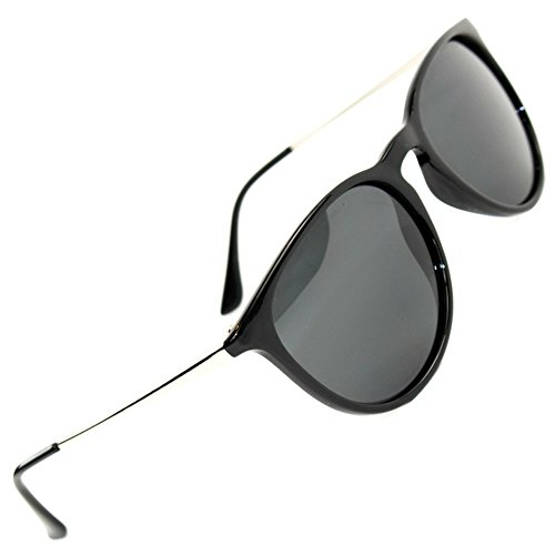 (Women's Polarized Sunglasses from EYE LOVE, Designer, 100% UV Block + 5 BONUSES, black)