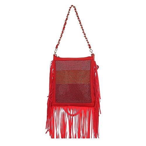 Damen Tasche, Kleine Fransen Umhängetasche Mit Strass, Kunstleder, TA-7060-178 Rot