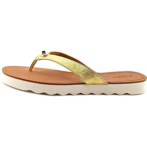 Open Flip Women Metallic Flop Coach Gold Shelly Sandal Toe Tumbled Leather qHFCOw