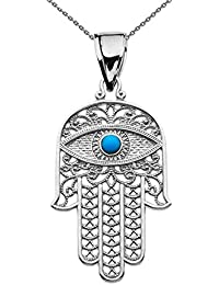 Sterling Silver Hamsa Hand With Blue Evil Eye Pendant Necklace