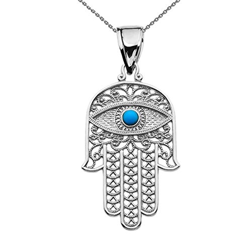 Middle Eastern Jewelry Sterling Silver Hamsa Hand with Blue Evil Eye Pendant Necklace 18""