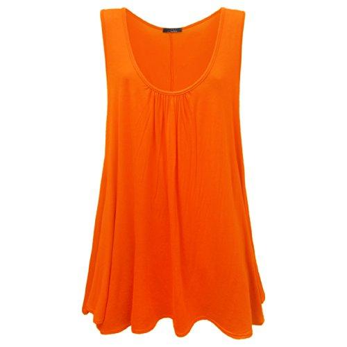 Lange oversize oranje mouwloze kleuren damesjurk effen r0wqrPZxa
