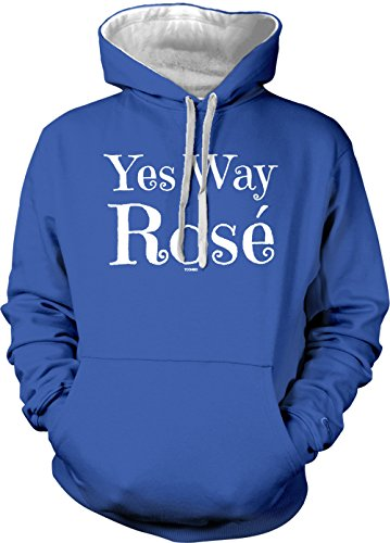 Yes Way Rose Adult Two Tone Hoodie Sweatshirt (Royal Blue/White Strings, Small)