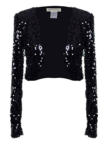Anna-Kaci Womens Shiny Sequin Long Sleeve Glitter Cropped Blazer Bolero Shrug, Black, XX-Large ()