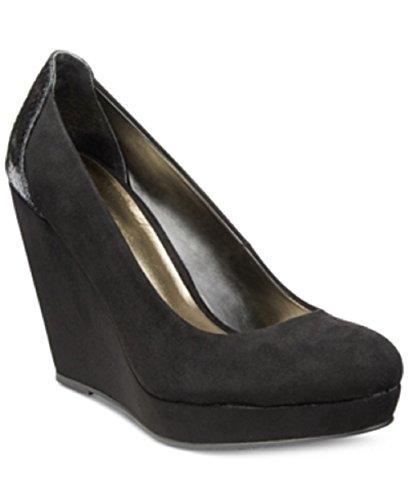 Thalia Sodi Miaa Women Open Toe Canvas Black Wedge Heel, Black Snake, Size 7.0 (Canvas Open Toe Wedge Heel)