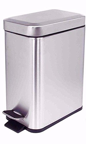Eco Design Integrated Pedal Operated 5L Slim Waste Bin Perfect Garbage Can for Any Room (Silver) (Bag Newmarket)