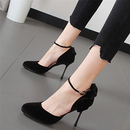Xue Qiqi princesa zapatos de punta pajarita hueco con la alta línea de zapatos de tacón boca superficial solo zapatos zapatos de boda hembra rojo Negro