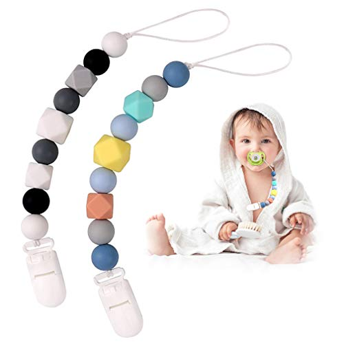 Pacifier Clips, TYRY.HU 2 in 1 Teether Pacifier Clip Chewable Silicone Teething Beads BPA Free Binky Holder Chain for Baby Boys