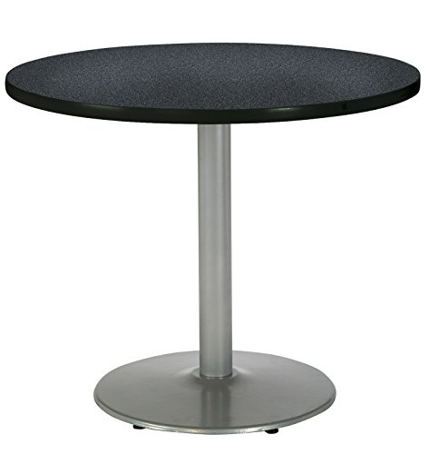 KFI Seating Round Pedestal Table with Round Silver Base, Commercial Grade, 42-Inch, Graphite Nebula Laminate, Made in the USA by KFI Seating