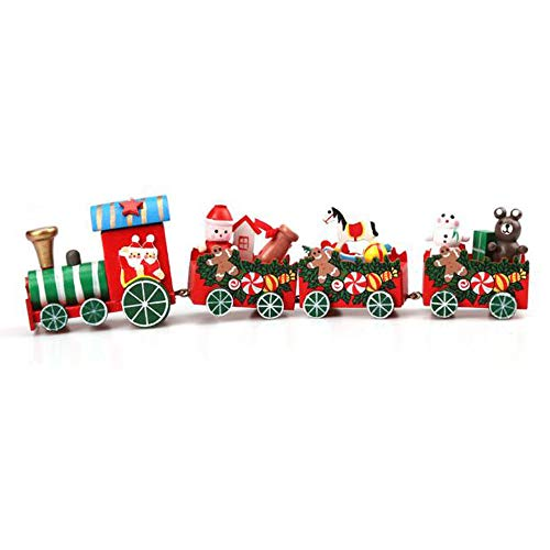 Brass Disney Ball - Hisoul Christmas Train Wood Toy - 4 Pcs Colorful Engine and Carriages are Linked with Brass Fixings Christmas Train Decoration - Shipped from USA (Multicolor)