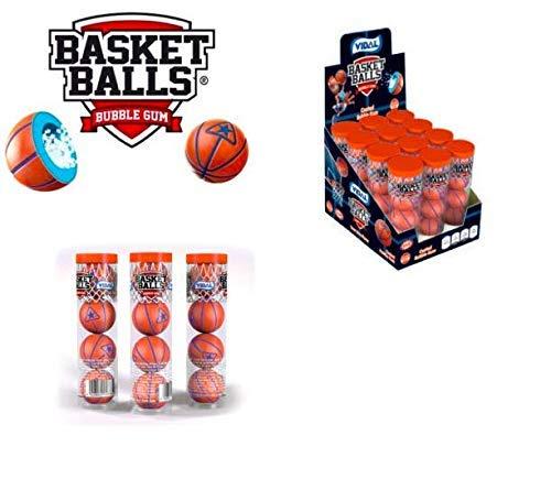 RDALE FRESH Super Sports Balls Bubble Gum 12 Tubes (BASKETBALLS GUM BALLS)