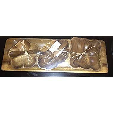 Pacific Merchants Acaciaware Condiment Serving Set