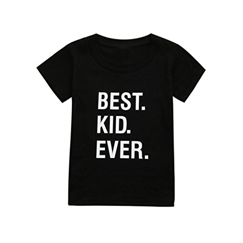 Goodlock Toddler Infant Kids Fashion Tops Baby Boy Girl Summer Letter T-Shirt Tops Clothes Outfits (Black, Size:5T)