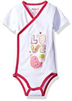 Zutano Baby Girls' Short Sleeve Bodysuit, Tweet Love, 3M (0-3 Months)