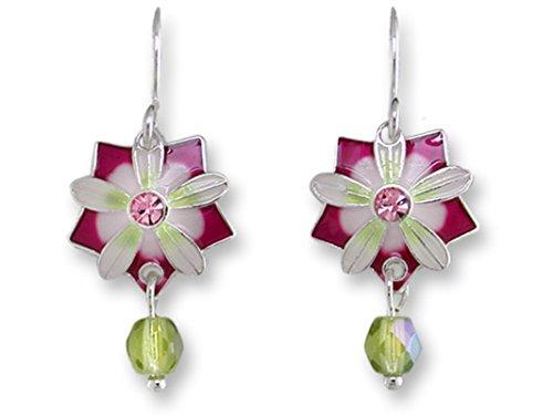 (Quintessence Flower Dangle Earrings Silver-Plated Nickel-Free Zarlite by Zarah )