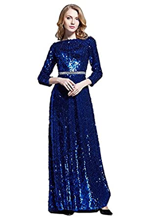 Sexy Open back blue sequin evening party prom Maxi Women Dress