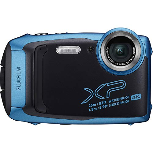 Fujifilm FinePix XP140 Shock & Waterproof Wi-Fi Digital Camera (Sky Blue) with 64GB Card + Battery + Charger + Case + Tripod + Kit