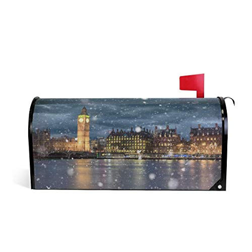 LIUYANLING Mailbox Cover Magnetic Large 6.5 x 19inch Standard Size Winter Night Snow London Mailbox Cover -