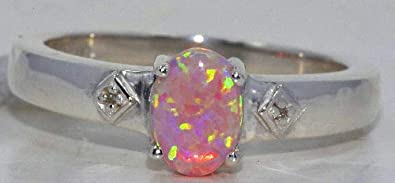 Elizabeth Jewelry Simulated Pink Opal Diamond Oval Ring .925 Sterling Silver Rhodium Finish