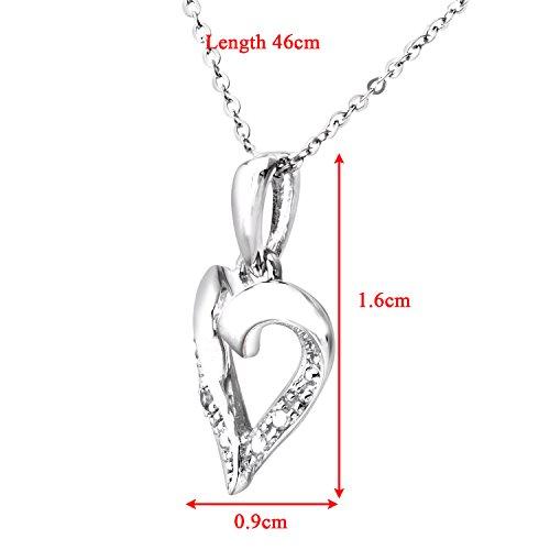 Revoni Bague en or blanc 9carats-Diamant Pendentif Coeur et chaîne de 46cm