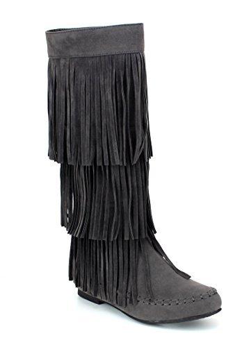 Refresh Jolin-02 Women's Fringe Moccasin Flat Heel Zipper Under Knee High Boots,Grey,8 ()