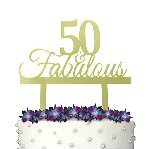 GrantParty 50 and Fabulous Cake Topper with Protective Film |50th Birthday Party Decoration Ideas | Perfect Keepsake (50&Fabulous Mirror Gold)]()
